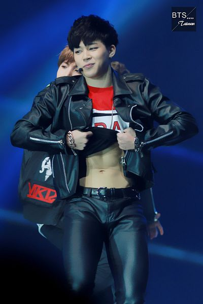 Tags: K-Pop, Bangtan Boys, Park Jimin, Shirt Lift, Necklace, Abs, Black Pants, Microphone, Black Jacket, Bracelet, Red Shirt, Looking Away