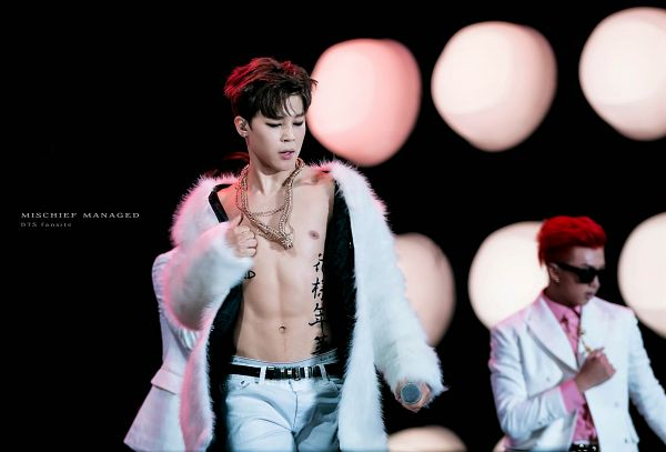 Tags: K-Pop, BTS, Park Jimin, Holding Object, White Jacket, Suggestive, Pink Shirt, Abs, Sunglasses, White Pants, Black Background, Hand On Chest