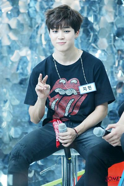 Tags: K-Pop, BTS, Park Jimin, Sitting On Chair, Short Sleeves, V Gesture, Jeans, Bracelet, Bandana, Holding Object, Some (Fansite), Android/iPhone Wallpaper