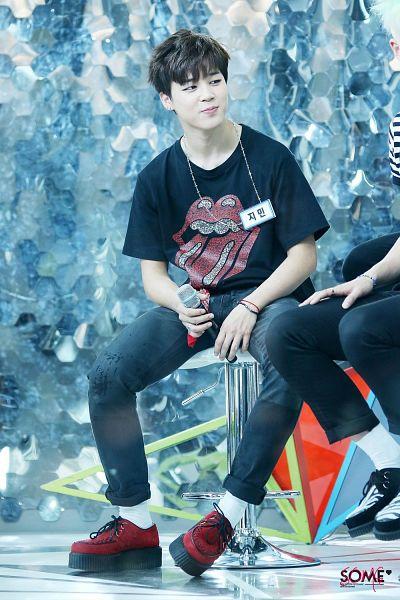 Tags: K-Pop, BTS, Park Jimin, Shoes, Red Footwear, Socks, Bandana, Holding Object, Jeans, Sitting On Chair, Bracelet, Short Sleeves