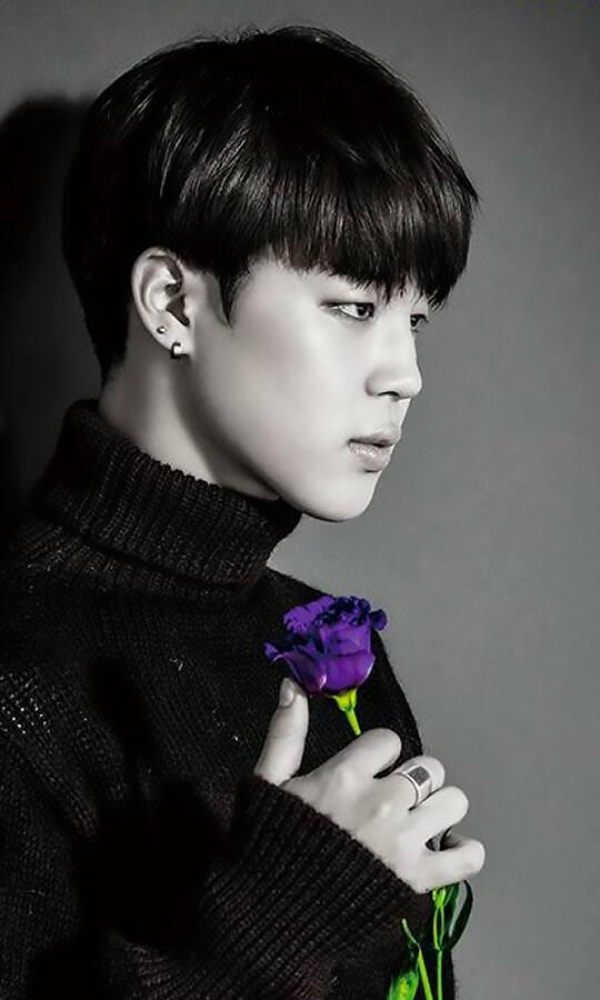 Tags: K-Pop, BTS, I Need U (Japanese Version), Park Jimin, Ring, Purple Flower, Rose (flower), Monochrome, Turtleneck, Black Eyes, Flower, Serious
