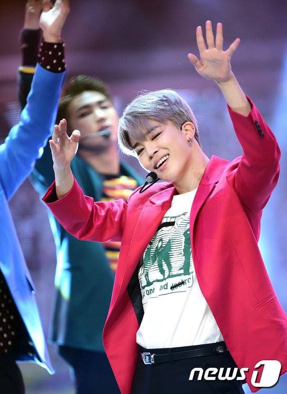 Tags: K-Pop, BTS, Park Jimin, Red Outerwear, Stage, Gray Hair, Black Pants, Red Jacket, Belt