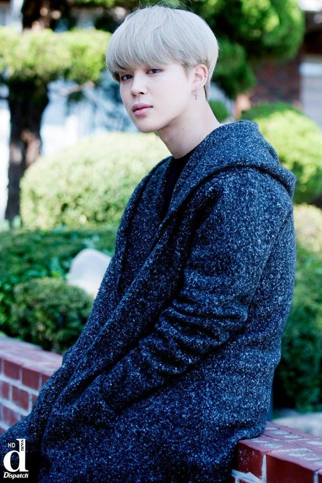 Tags: K-Pop, BTS, Park Jimin, Sitting On Fence, White Hair, Serious, Coat, Fence, Dispatch