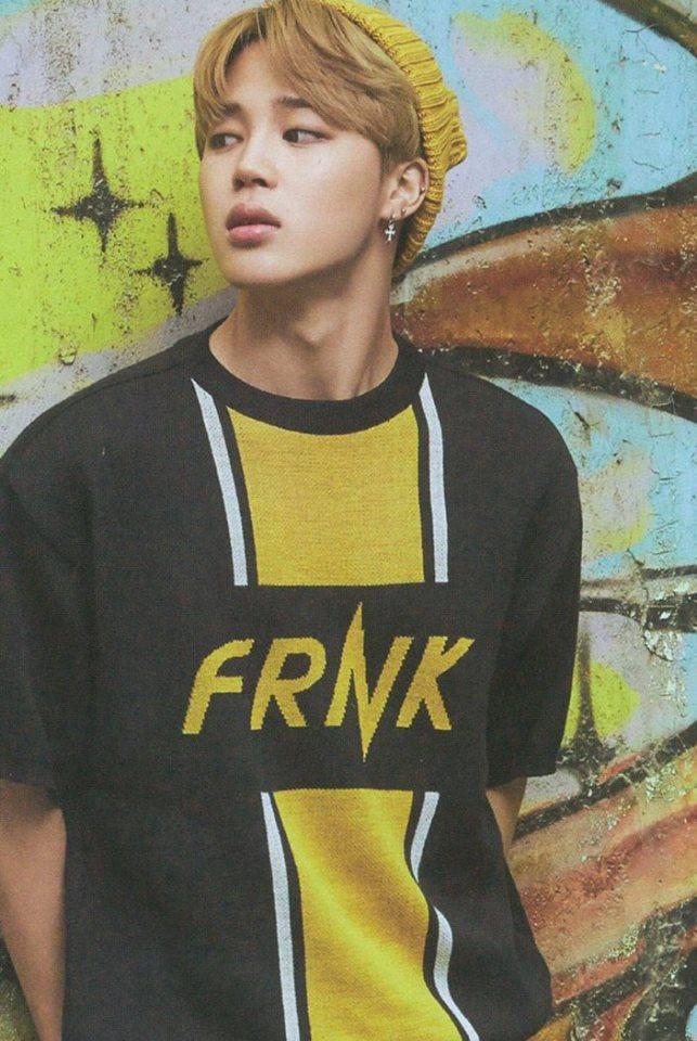 Tags: K-Pop, Bangtan Boys, Park Jimin, Looking Away, Black Eyes, Wall, Serious, Blonde Hair, BTS 2017 Season's Greetings