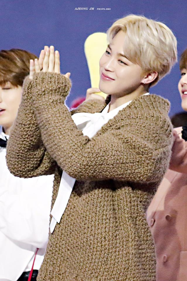 Tags: K-Pop, BTS, Park Jimin, Bow, Clapping, White Bow, White Neckwear, Brown Shirt, Contact Lenses, Sweater