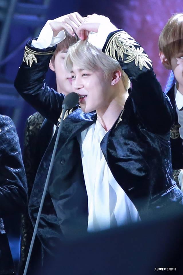 Tags: K-Pop, BTS, Park Jimin, Contact Lenses, Black Outerwear, Black Jacket, Heart Gesture, Arms Up