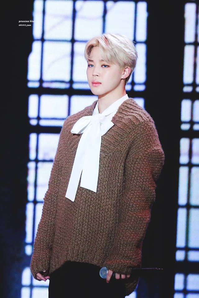 Tags: K-Pop, BTS, Park Jimin, White Bow, White Neckwear, Brown Shirt, Stage, Sweater, Contact Lenses, Bow