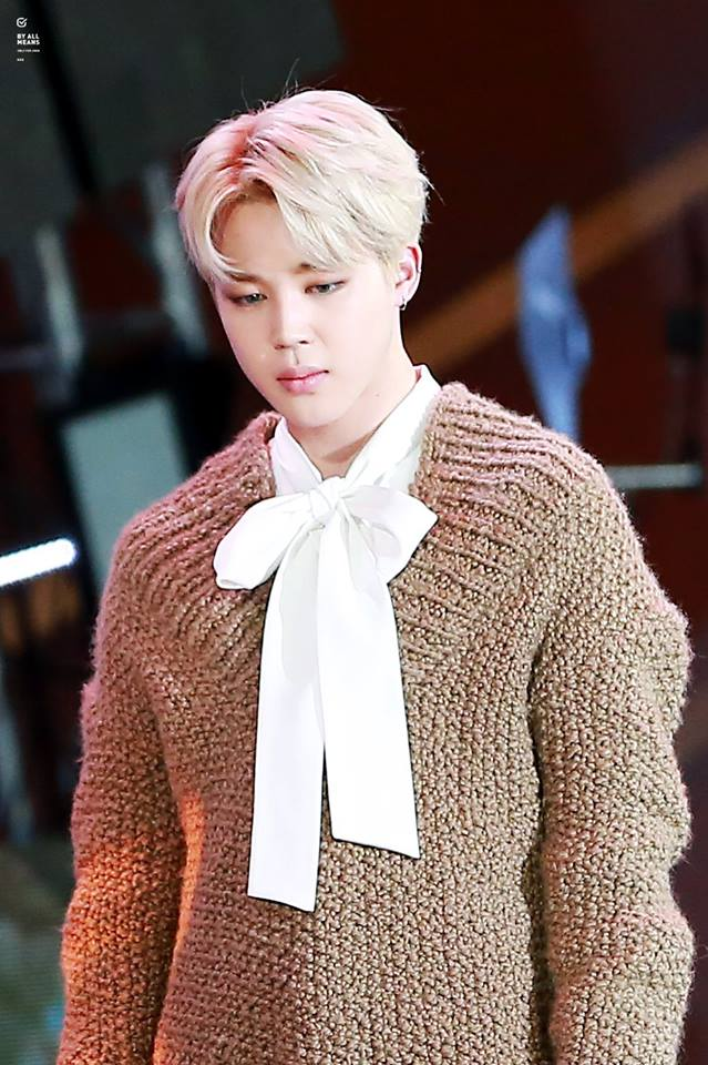 Tags: K-Pop, BTS, Park Jimin, Bow, White Bow, White Neckwear, Brown Shirt, Stage, Sweater, Contact Lenses