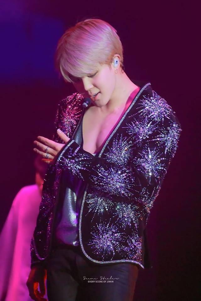 Tags: K-Pop, BTS, Park Jimin, Floral Jacket, Earbuds, Black Outerwear, Stage, Bare Shoulders, Tank Top, Floral Print, Gray Shirt, Black Jacket