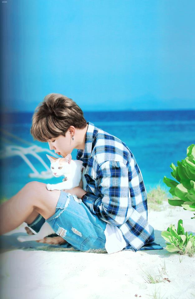 Tags: K-Pop, BTS, Park Jimin, Plaided Shirt, Sea, Blue Shorts, Plaided Print, Necklace, Ring, Cat, Animal, Side View