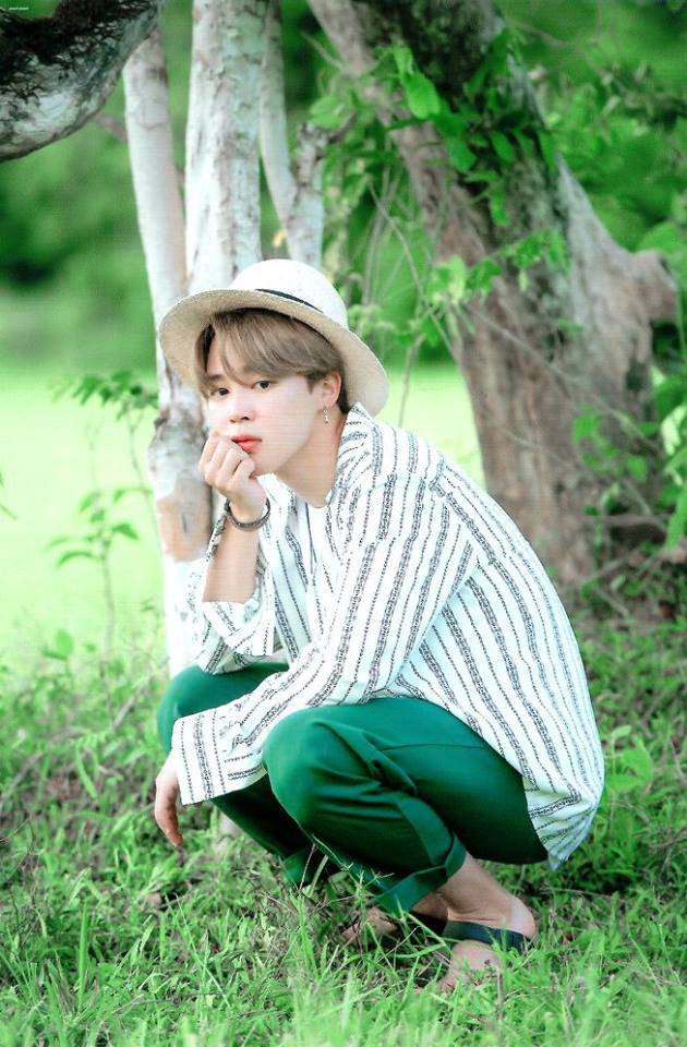 Tags: K-Pop, BTS, Park Jimin, Bracelet, Striped, Crouching, Arm Support, Striped Shirt, Green Pants, Tree, Hat, Plant