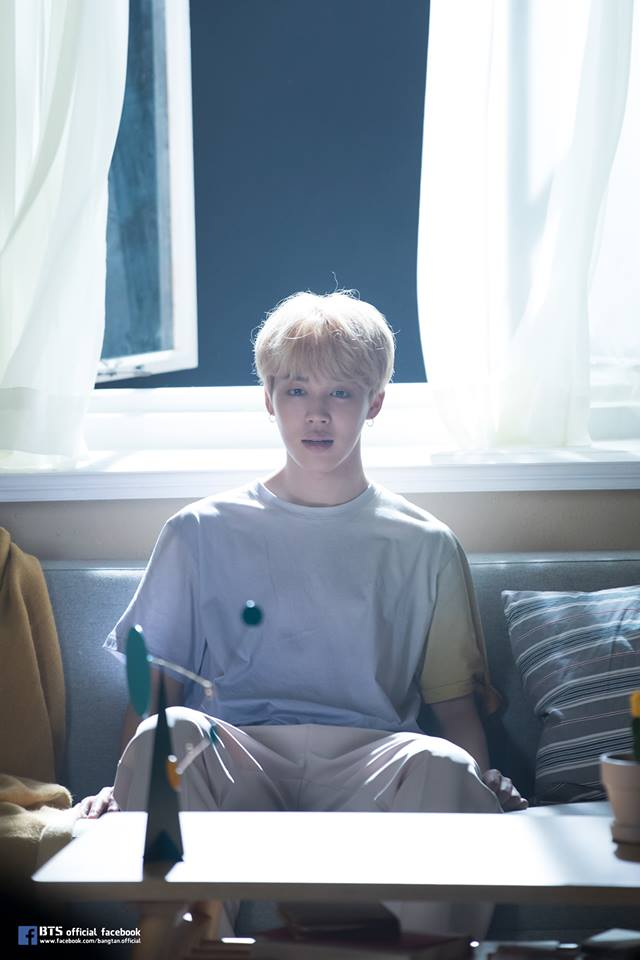 Tags: K-Pop, BTS, Serendipity, Park Jimin, Window, White Pants, Short Sleeves, Table, Black Eyes, Curtain, Love Yourself: Her