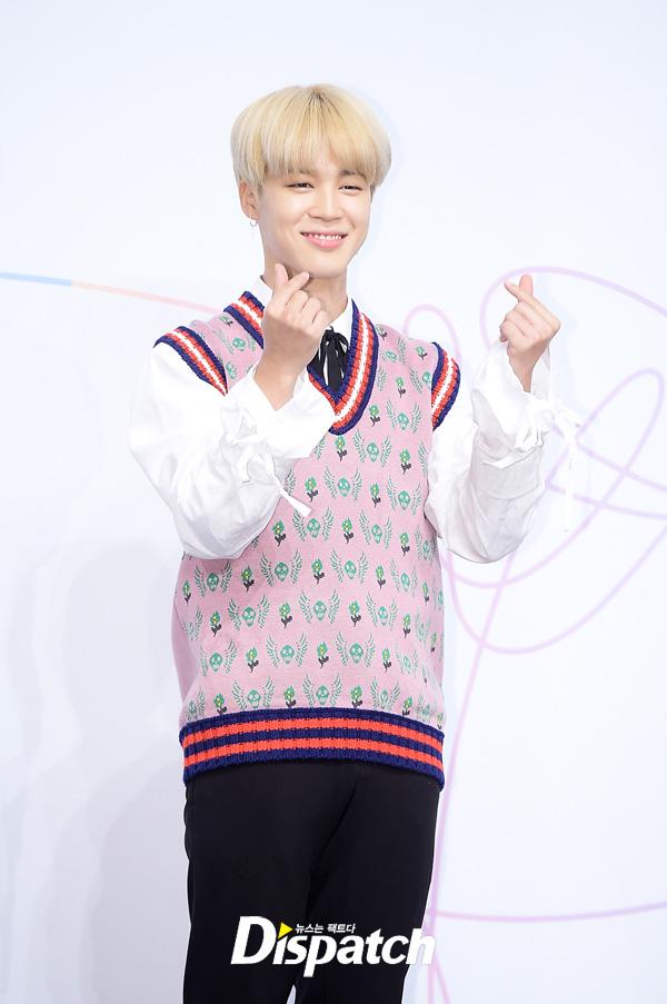 Tags: K-Pop, BTS, Park Jimin, Vest, Heart Gesture, Pink Outerwear, Black Pants, Grin, Dispatch
