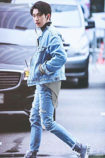 Tags: K-Pop, Got7, Park Jinyoung (Junior), Jacket, Denim Jacket, Jeans, Walking, Pants, Headphones, Hand In Pocket, Ripped Pants, Blue Pants