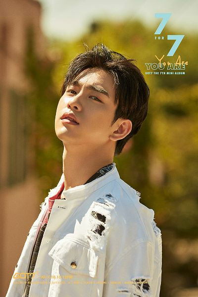 Tags: K-Pop, Got7, Park Jinyoung (Junior), White Outfit, Text: Artist Name, English Text, Text: Album Name, White Jacket, Text: Song Title, Serious, Tree, Plant