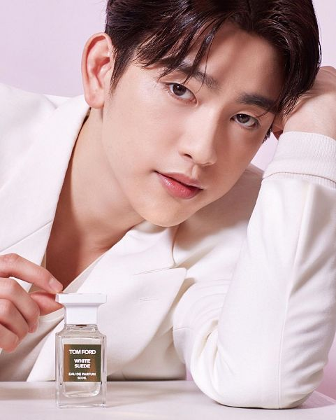 Tags: K-Pop, Got7, Park Jinyoung (Junior), Serious, Perfume Bottle, White Outerwear, White Jacket, Bottle, W Korea, Magazine Scan, Tom Ford