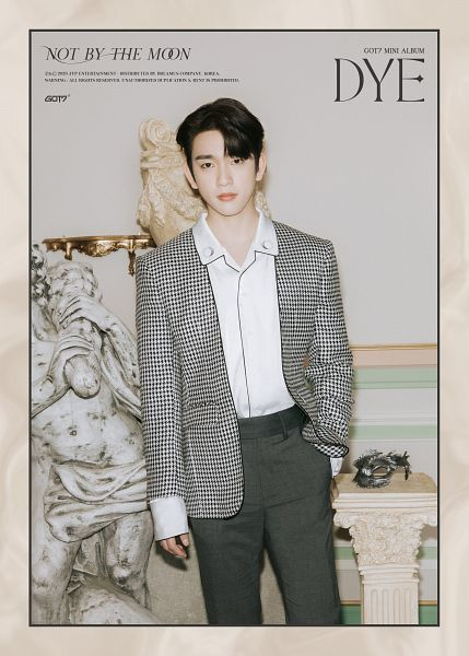 Tags: K-Pop, Got7, Park Jinyoung (Junior), Mask Off, Text: Song Title, Gray Pants, Hand In Pocket, Text: Artist Name, Mask, Text: Album Name, Serious, English Text