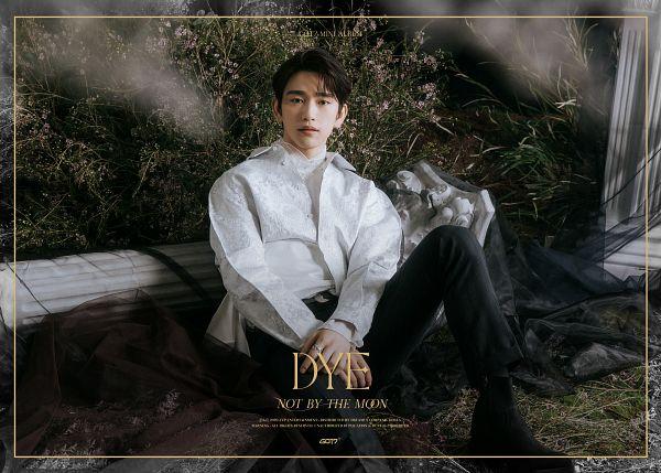 Tags: K-Pop, Got7, Park Jinyoung (Junior), Text: Song Title, Text: Artist Name, Ring, Text: Album Name, Column, Veil, Black Pants, Black Footwear, English Text