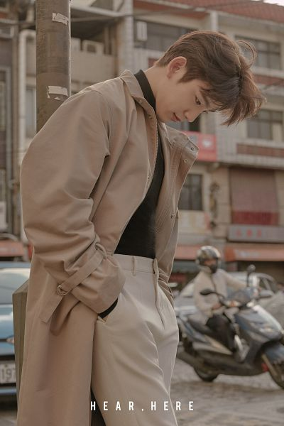 Tags: K-Pop, Got7, Park Jinyoung (Junior), Looking Down, Car, English Text, Outdoors, Hand In Pocket, Scooter, White Pants, Brown Outerwear, Hear Here