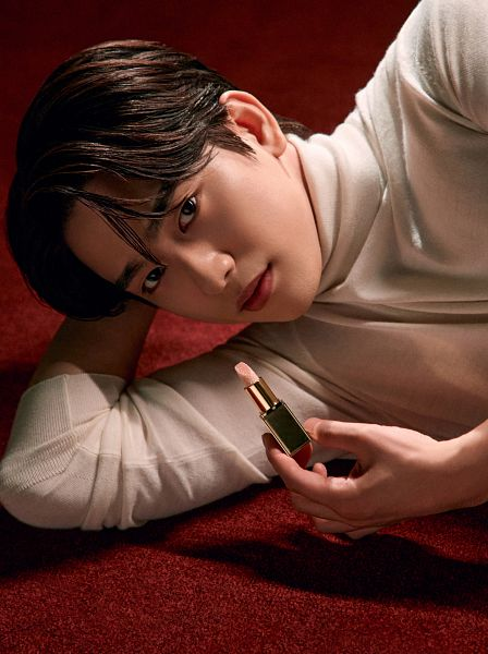 Tags: K-Pop, Got7, Park Jinyoung (Junior), Collar (Clothes), Make Up, Arm Support, Serious, Carpet, Laying Down, Turtleneck, Tom Ford, Magazine Scan