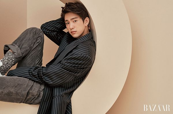 Tags: K-Pop, Got7, Park Jinyoung (Junior), Striped Shirt, Striped, Black Jacket, Gray Pants, Brown Background, Magazine Scan, Harper's Bazaar