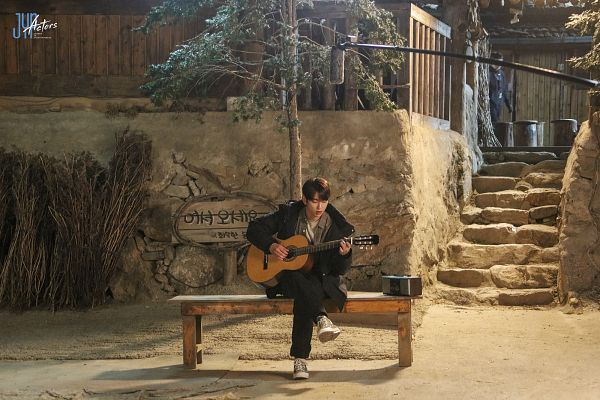 Tags: K-Pop, K-Drama, Got7, Park Jinyoung (Junior), Bench, Korean Text, Stairs, Radio, Musical Instrument, Guitar, Playing Instrument, When My Love Blooms
