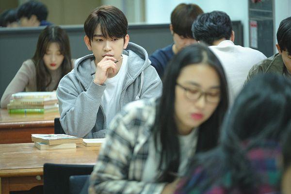Tags: K-Pop, K-Drama, Got7, Park Jinyoung (Junior), Serious, Hood, Book, Hoodie, Table, Pencil, When My Love Blooms