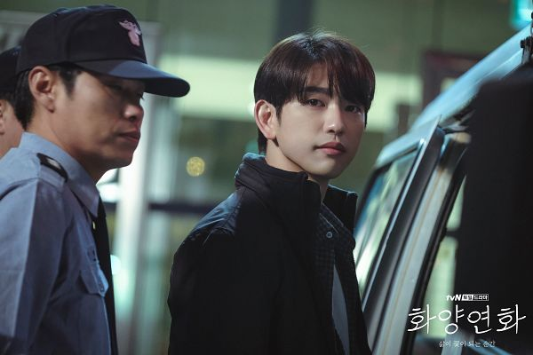 Tags: K-Pop, K-Drama, Got7, Park Jinyoung (Junior), Serious, Korean Text, Duo, Text: Series Name, Car, Two Males, Night, When My Love Blooms