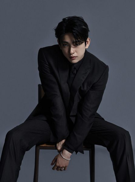 Tags: K-Pop, Got7, Park Jinyoung (Junior), Tie, Black Neckwear, Black Pants, Chair, Ring, Spread Legs, Sitting On Chair, Gray Background, Bracelet