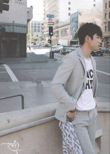 Tags: K-Pop, Got7, Park Jinyoung (Junior), Gray Shorts, Car, Shorts, Traffic Light, Gray Jacket, Road, Gray Outerwear, GOTCHA 2 Photobook, Scan