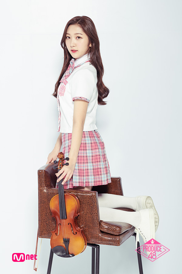 Tags: Television Show, K-Pop, Park Minji, Thigh Highs, Back, Close Up, Text: Series Name, Chair, Short Sleeves, Shoes, Kneeling, White Footwear