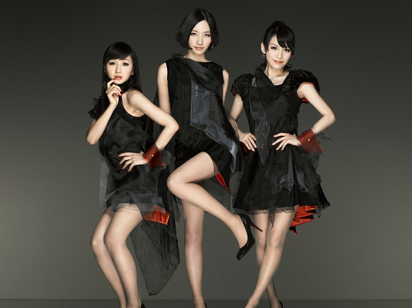 Tags: J-Pop, Perfume (Group), A-chan, Kashiyuka, Nocchi, Bare Legs, High Heels, Black Outfit, Three Girls, Collarbone, Black Dress, Dark Background