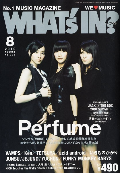 Tags: J-Pop, Perfume (Group), Nocchi, A-chan, Kashiyuka, Full Group, Sleeveless, Bare Shoulders, Black Background, Japanese Text, Bracelet, Bare Legs