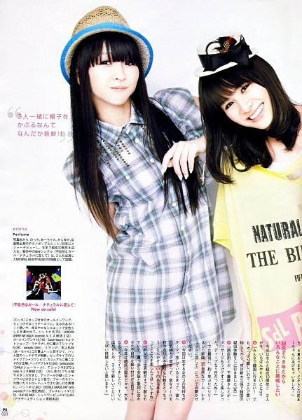 Tags: J-Pop, Perfume (Group), A-chan, Kashiyuka, Yellow Shirt, White Dress, Brown Headwear, White Outfit, Checkered Dress, Medium Hair, Two Girls, Checkered