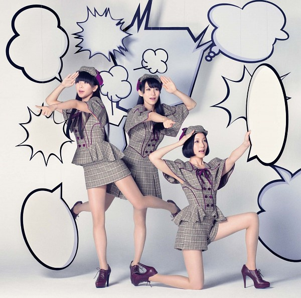 Tags: J-Pop, Perfume (Group), A-chan, Kashiyuka, Nocchi, Bare Legs, Skirt, White Background, Gray Shirt, Checkered, Kneeling, Standing On One Leg