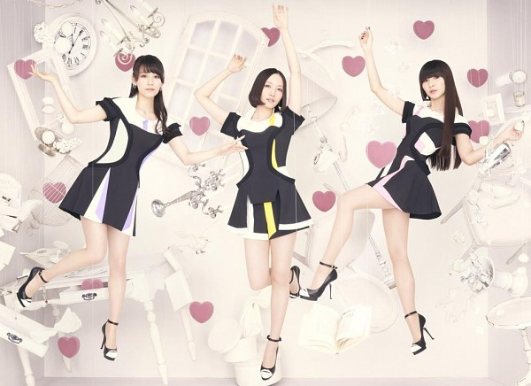Tags: J-Pop, Perfume (Group), Nocchi, A-chan, Kashiyuka, Full Body, Wavy Hair, Black Outfit, Black Footwear, Matching Outfit, Heart, Light Background