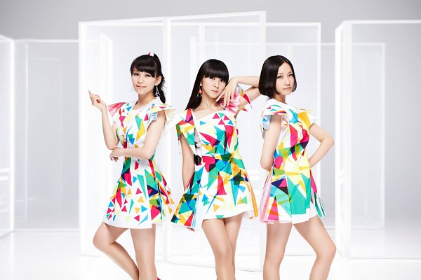 Tags: J-Pop, Perfume (Group), A-chan, Kashiyuka, Nocchi, Hand On Hip, Collarbone, White Background, Bare Legs, Trio, Hand On Cheek, Full Group