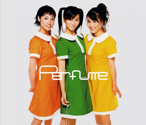 Tags: J-Pop, Perfume (Group), A-chan, Kashiyuka, Nocchi, Twin Tails, Full Group, White Background, Yellow Dress, Orange Outfit, Matching Outfit, Green Outfit