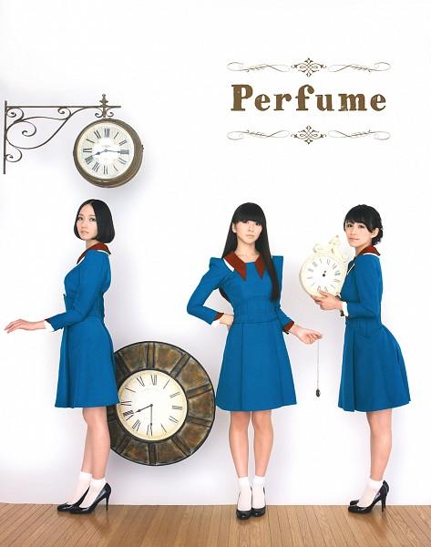 Tags: J-Pop, Perfume (Group), Nocchi, A-chan, Kashiyuka, Black Footwear, Matching Outfit, Text: Artist Name, High Heels, Light Background, Three Girls, Medium Hair