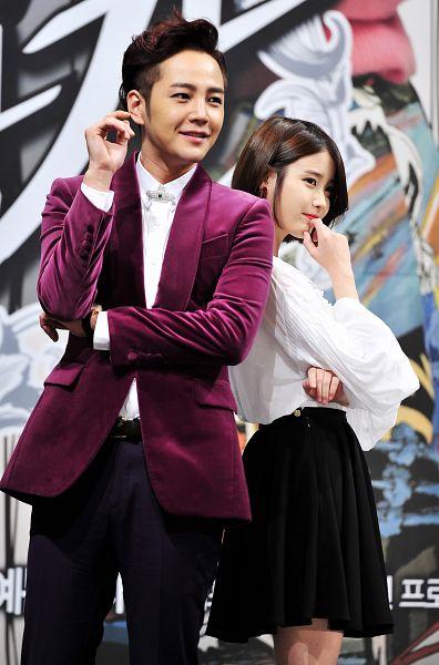Tags: K-Pop, K-Drama, IU, Jang Keun-suk, Skirt, Purple Outerwear, Red Lips, Purple Jacket, Black Skirt, Duo, Pretty Man, Android/iPhone Wallpaper