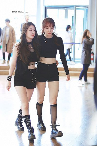 Tags: K-Pop, Pristin, Minkyeung, Kang Yaebin, Hug, Holding Close, Walking, Necklace, Two Girls, Black Pants, Duo, Hair Up