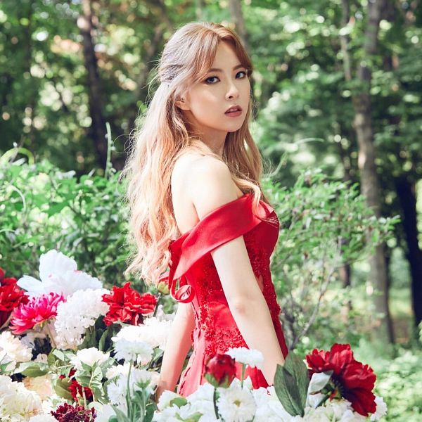 Tags: K-Pop, Nine Muses, Pyo Hyemi, Bare Shoulders, Flower, Red Outfit, Red Dress, White Flower, Wavy Hair, Identity (Nine Muses)