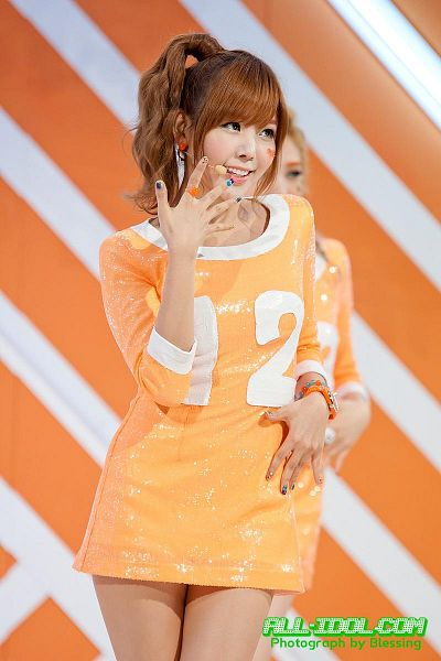 Tags: K-Pop, After School, Orange Caramel, Raina, Orange Outfit, Blunt Bangs, Orange Dress, Live Performance