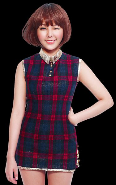 Tags: K-Pop, Orange Caramel, After School, Shanghai Romance, Raina, Checkered, Wig, Checkered Dress, Wink, Hand On Hip, PNG Conversion