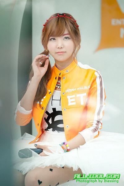 Tags: K-Pop, Orange Caramel, After School, Raina, White Skirt, Ponytail, Necklace, Orange Outerwear, Skirt, Hair Up, Blunt Bangs