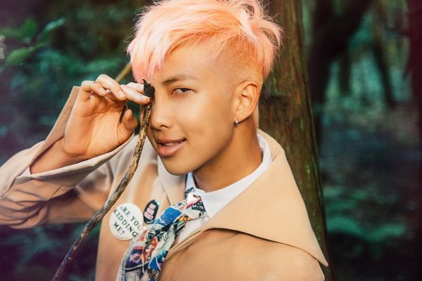 Tags: K-Pop, BTS, Rap Monster, Tie, Outdoors, Brown Outerwear, Pink Hair, Covering Eyes, English Text, The Most Beautiful Moment in Life pt.2