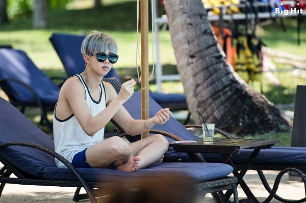 Tags: K-Pop, BTS, Rap Monster, Sunglasses, Bare Shoulders, Barefoot, Serious, Sleeveless, Crossed Legs, Tank Top, Glasses, Palm Tree
