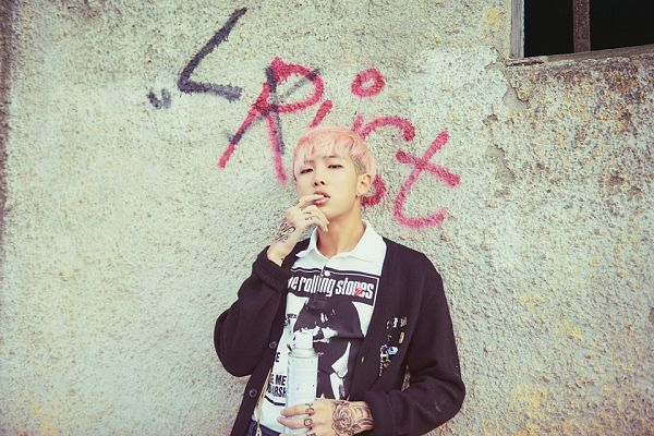 Tags: K-Pop, BTS, Rap Monster, Wall, Black Outerwear, Tattoo, Pink Hair, Graffiti, Black Jacket, Bottle, Leaning On Wall, The Most Beautiful Moment in Life pt.2