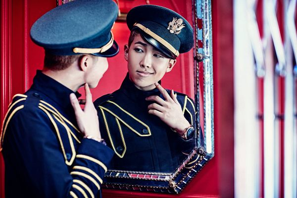 Tags: K-Pop, BTS, DOPE, Rap Monster, Black Jacket, Glass, Mirror, Looking At Reflection, Hat, Reflection, Watch, Wristwatch