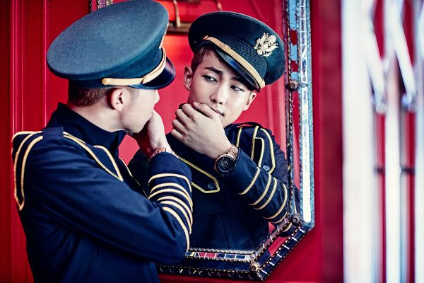 Tags: K-Pop, BTS, DOPE, Rap Monster, Reflection, Watch, Elevator, Wristwatch, Glass, Black Jacket, Looking At Reflection, Mirror